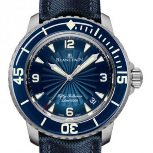 宝珀Blancpain五十噚系列5015D-1140-52B 蓝盘 男士自动机械表 商务腕表