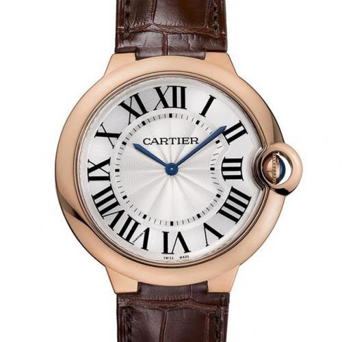 卡地亚Cartier 蓝气球系列W6920083 18K玫瑰金/黄金  白面皮带全自动机械男士手表