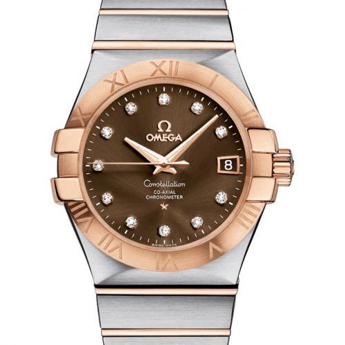 欧米茄手表OMEGA 星座系列123.20.35.20.63.001 棕面  自动机械透底18K包玫瑰金男表