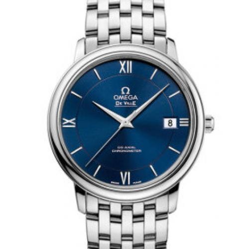 欧米茄OMEGA 蝶飞系列典雅系列腕表424.10.37.20.03.001 蓝面 钢带 男士自动机械表
