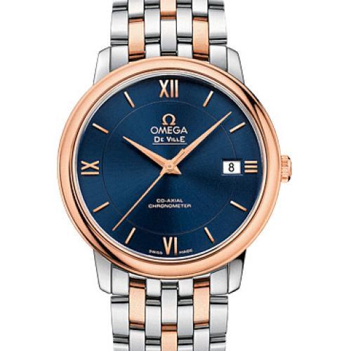 欧米茄OMEGA 蝶飞系列典雅系列腕表424.20.37.20.03.002 蓝面 间18K玫瑰金 钢带 男士自动机械表