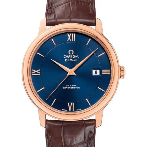欧米茄OMEGA 蝶飞系列典雅系列腕表424.53.40.20.03.002 蓝面 18K玫瑰金 皮带 男士自动机械表