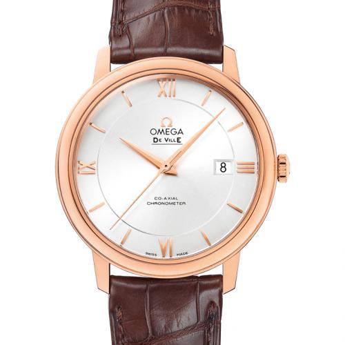 欧米茄OMEGA 蝶飞系列典雅系列腕表424.53.40.20.02.001 白面 18K玫瑰金 皮带 男士自动机械表