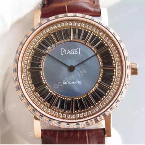 伯爵Piaget男表 ALTIPLANO系列 18K玫瑰金 镶钻 自动机械透底 厚度仅7.5mm 香港组装