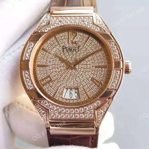 伯爵Piaget Polo系列腕表 18K玫瑰金 满天星 男士多功能自动机械手表