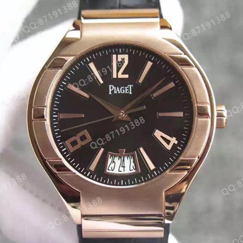 伯爵Piaget Polo系列腕表 18K玫瑰金 黑面 男士多功能自动机械手表