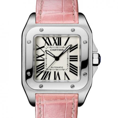 瑞士卡地亚Cartier SANTOS山度士100周年系列W20126X8 粉色皮带机械方形女表 瑞士机芯