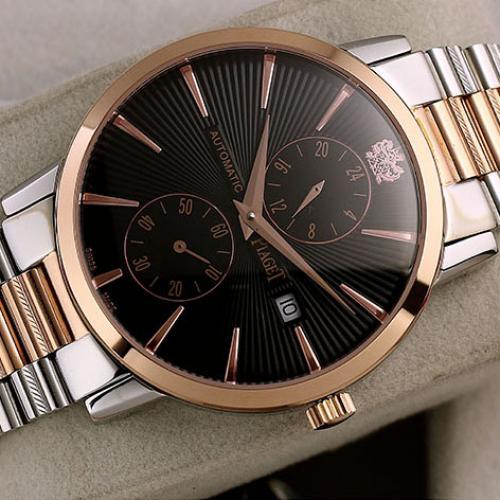 伯爵Piaget男表  ALTIPLANO系列 18K玫瑰金黑面 自动机械透底手表 进口多功能机芯 香港组装