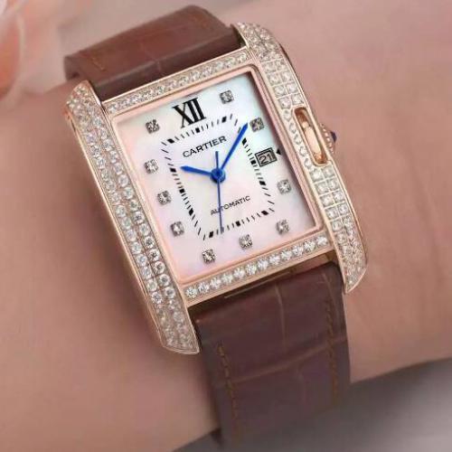 卡地亚Cartier 坦克系列TANK ANGLAISE腕表WT100003 粉色面 皮带 18K包玫瑰金 镶钻 全自动机械女士手表
