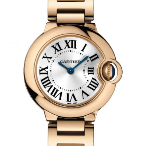 卡地亚Cartier女表 蓝气球系列W69002Z2 18K玫瑰金 白面钢带 瑞士石英机芯 女士手表