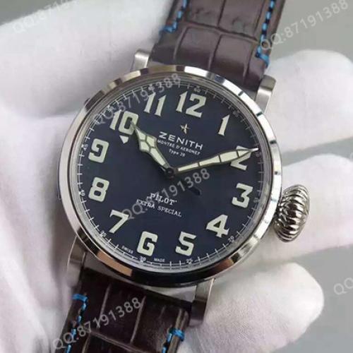 真力时(Zenith)飞行员系列TYPE 20 EXTRA SPECIAL系列  03.2430.3000/21.C738 蓝面  男士自动机械腕表