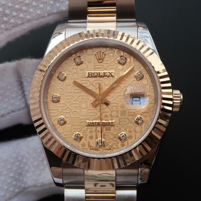 Rolex 劳力士 Datejust 日志型系列126333黄金钢牙圈金面电脑纹镶钻刻度男表 带夜光 香港组装