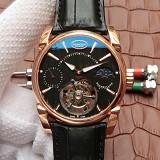 帕玛强尼(Parmigiani Fleurier)Tonda 1950系列真陀飞轮新款日月星辰 24小时显示 18K玫瑰金 黑盘 男士手动机械表手表