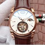 帕玛强尼(Parmigiani Fleurier)Tonda 1950系列真陀飞轮新款日月星辰 24小时显示 18K玫瑰金 白盘 男士手动机械表手表