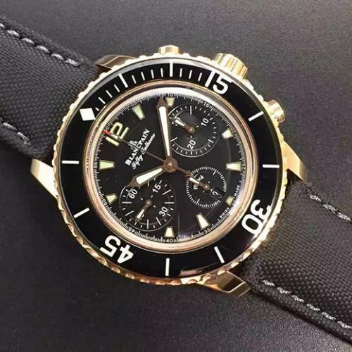 【高端专供】宝珀Blancpain五十噚系列5085F-3630-52 18k包金 男士自动机械表 带夜光  完美一比一复刻 7750机芯 防水腕表