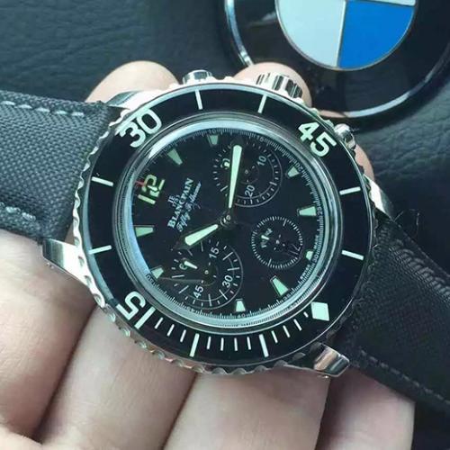 【高端专供】宝珀Blancpain五十噚系列5085F-1130-52 黑面  男士自动机械表 带超强夜光  完美一比一复刻 7750机芯 防水腕表