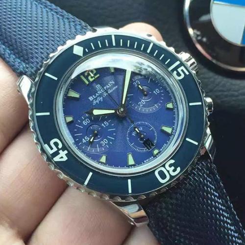 【高端专供】宝珀Blancpain五十噚系列5085FB-1140-52B 蓝面 男士自动机械表 带超强夜光  完美一比一复刻 7750机芯 防水腕表
