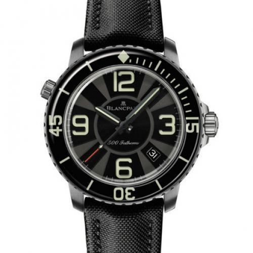 宝珀Blancpain五十噚系列50015-12B30-52B 男士自动机械表 带夜光   瑞士机芯 防水腕表