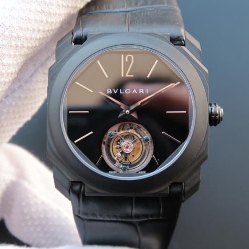 宝格丽OCTO系列102560 黑盘 白钢刻度 真陀飞轮机芯 男士手动机械表
