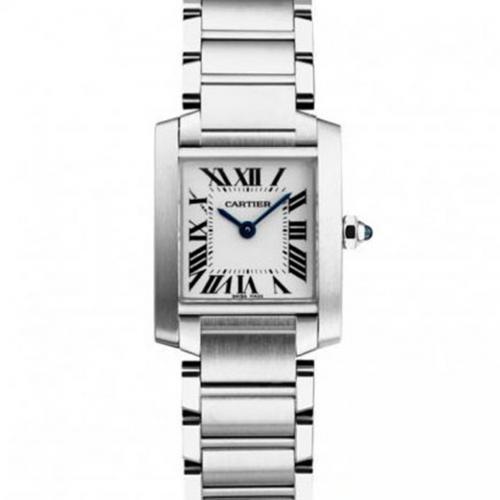 卡地亚女表 坦克系列W51008Q3 瑞士732机芯女士手表 休闲真皮方形白面女表