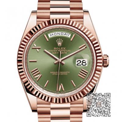 劳力士 星期日历型228235 绿盘 罗马条丁 18K包玫瑰金 双日历机械男表