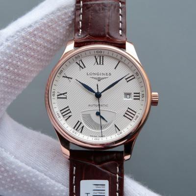 【高仿浪琴名匠机械手表】 L2.708.4.78.3 18K包玫瑰金 白盘 棕色皮带 真动能显示 男士自动机械表