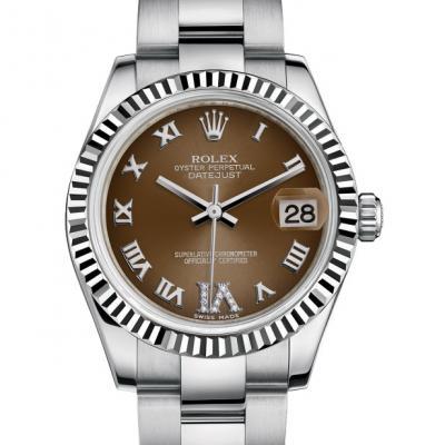 劳力士(ROLEX)女装日志型178274棕盘 罗马刻度 女士自动机械表手表