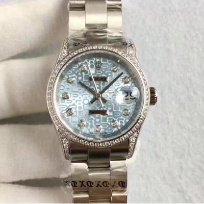 高仿一比一劳力士女表 女装日志型178384 浅蓝盘电脑纹 女士自动机械表手表