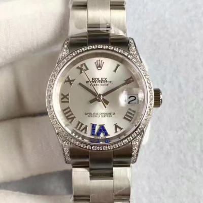 劳力士女款表高仿 女装日志型178384 浅蓝盘电脑纹 女士自动机械表手表