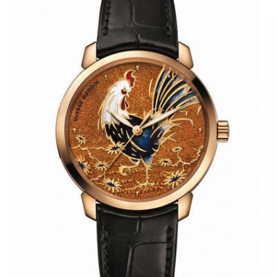 雅典Classico鎏金系列 鸡年生肖内填珐琅《鎏金金鸡腕表》 8152_111_2_ROOSTER 男士自动机械手表