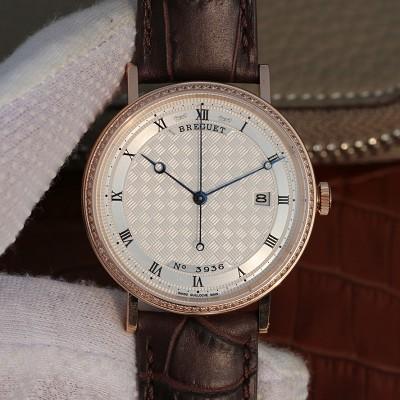 宝玑Breguet CLASSIQUE 经典系列5177 玫瑰金镶钻腕表 男士自动机械表