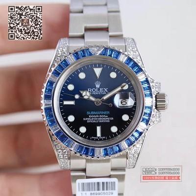 劳力士蓝水鬼仿真手表,劳力士潜航者镶钻版间蓝水鬼限量版 男士自动机械表