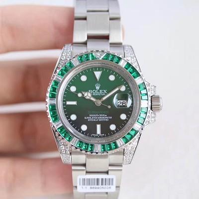 香港高仿组装劳力士蓝水鬼绿水鬼手表,劳力士潜航者镶钻版间绿水鬼限量版 男士自动机械表
