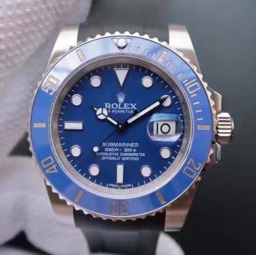 N劳力士SUB潜航者系列116619LB蓝水鬼蓝鬼v7版胶带款(送一副原装钢带) 机械男表