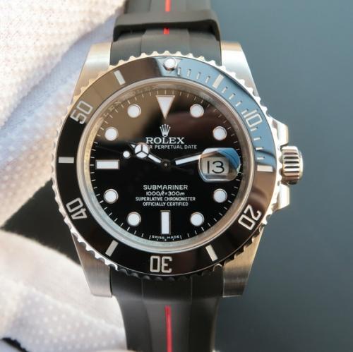 香港高仿劳力士手表 N劳力士黑水鬼黑鬼v7版SUB潜航者系列116610LN胶带款(送一副原装钢带) 机械男表