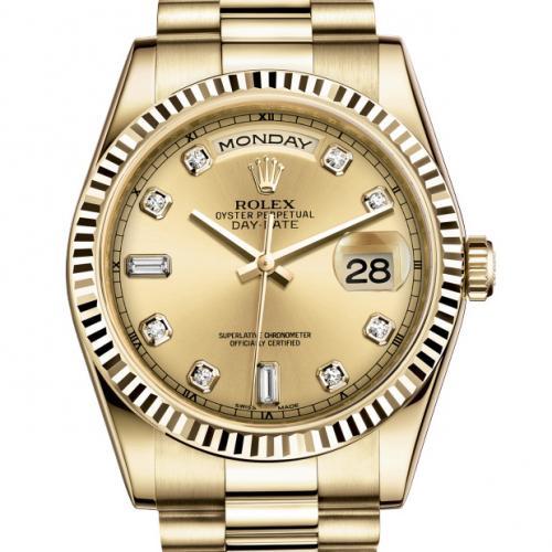 劳力士ROLEX典藏版星期日历型118238A-83208 全自动机械男表 包18K金金面双日历男士手表