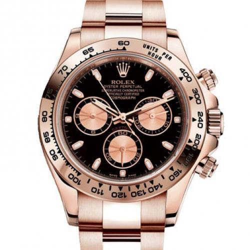 劳力士ROLEX宇宙计型迪通拿系列116505-0002黑面 18K玫瑰金 男士自动机械手表