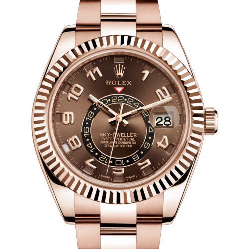 劳力士SKY-DWELLER系列326935巧克力色盘 18K玫瑰金 男士自动机械手表