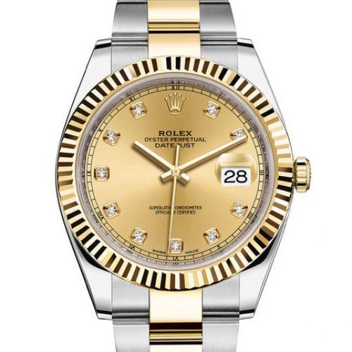 Rolex 劳力士 Datejust 日志型系列126333-0011香槟色面钻标男表 18K包金 香港组装
