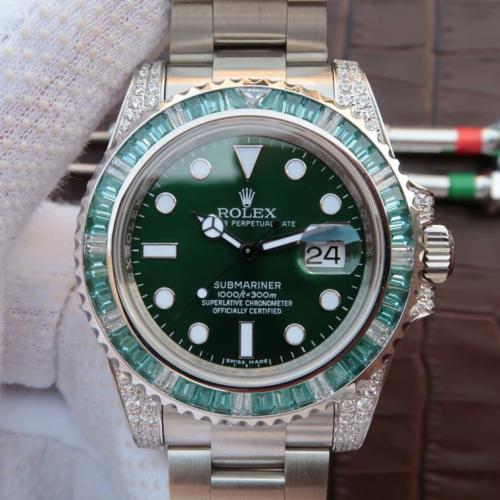 【定金发货】Rolex 劳力士潜航者系列116610LV镶钻欧美版 绿水鬼男表 香港组装