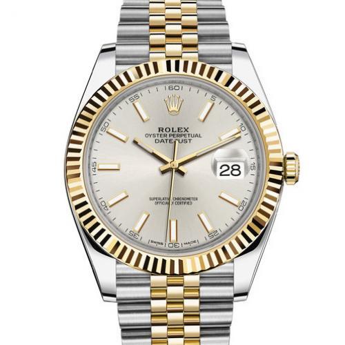 Rolex 劳力士 Datejust 日志型41系列126333-0002黄金钢牙圈银面男表 18K包金 香港组装
