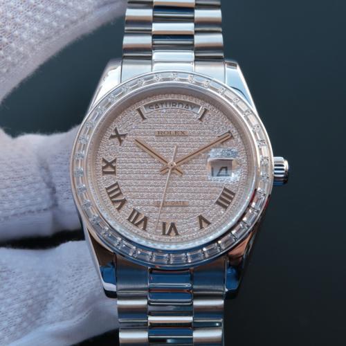 Rolex 劳力士 星期日历型系列218399 满天星 罗马刻度 镶钻 男士自动上链机械表 香港组装 品质一流