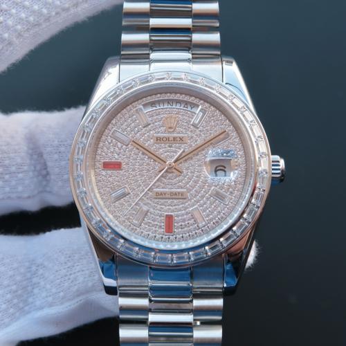 Rolex 劳力士 星期日历型系列218399 满天星 条丁刻度 镶钻 男士自动上链机械表 香港组装 品质一流