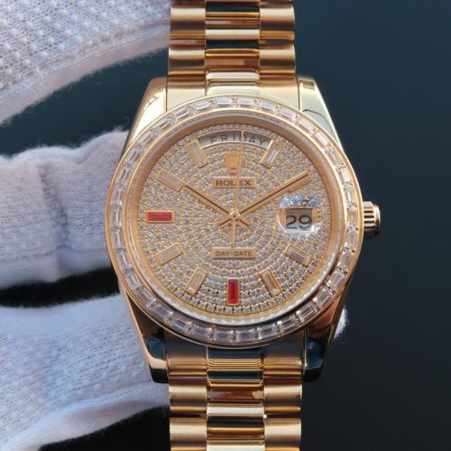 Rolex 劳力士 星期日历型系列228348RBR 18K金 满天星 条丁刻度 镶钻 男士自动上链机械表 香港组装 品质一流