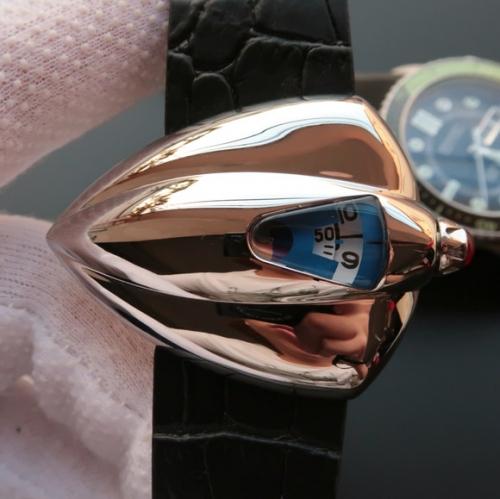 星际迷航》VSDeBethune腕表设计师以《星际迷航》(StarTrek)中的宇宙飞船为灵感发想,打造了极具视觉冲击力的表壳设计,皮表带,男士手表,自动机械机芯,透底