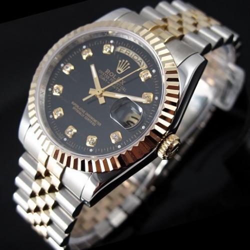 瑞士劳力士ROLEX典藏版星期日历型系列 全自动机械男表 瑞士ETA机芯包18K金黑面钻石刻度双日历男士手表