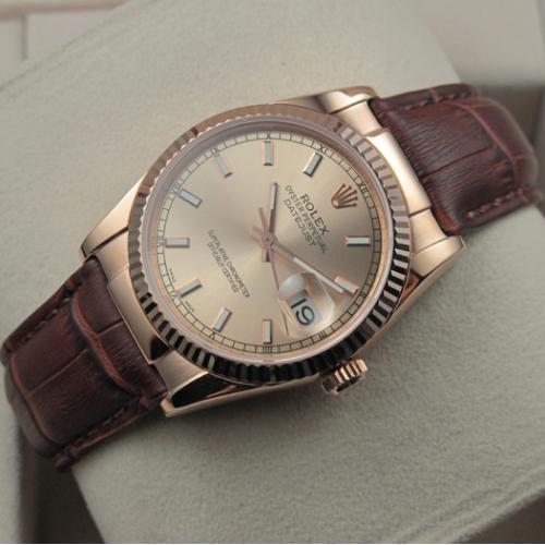 劳力士ROLEX手表 日志型18K玫瑰金棕色真皮表带金面条丁刻度男表 瑞士ETA机芯