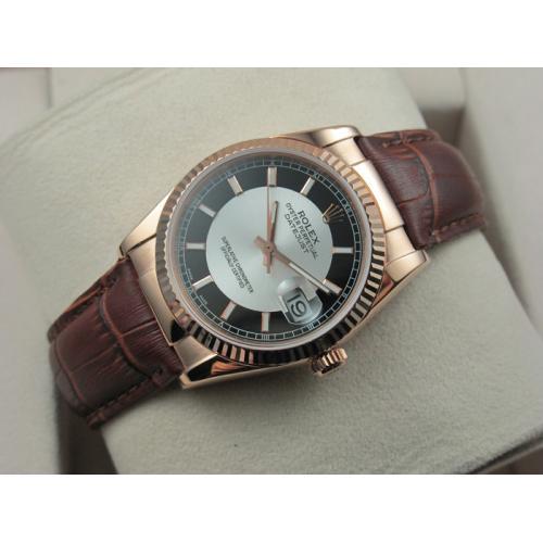 瑞士名表 劳力士ROLEX手表 日志型18K玫瑰金棕色真皮表带黑面条丁刻度男表 瑞士ETA机芯