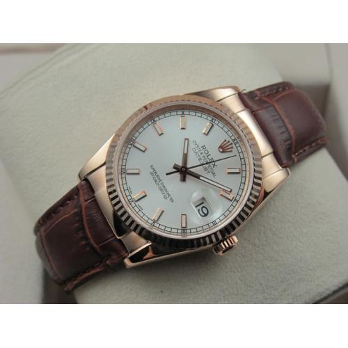 劳力士ROLEX手表 日志型18K玫瑰金棕色真皮表带白面条丁刻度男表 瑞士ETA机芯