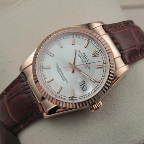 瑞士名表 劳力士ROLEX手表 日志型18K玫瑰金棕色真皮表带白面条丁刻度男表 香港组装
